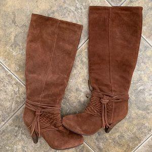 Suede knee high fringe boots